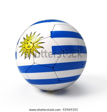 Soccer ball with Uruguayan flag isolated on white - stock photo