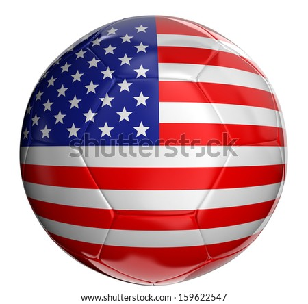Soccer ball  with US flag  - stock photo
