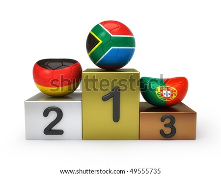 Soccer balls on podium - stock photo