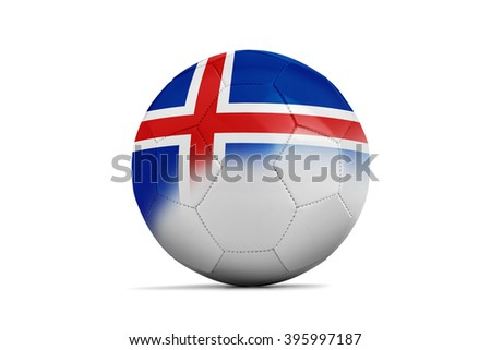 Soccer balls with team flags, Football Euro 2016. Group F, Iceland- clipping path - stock photo