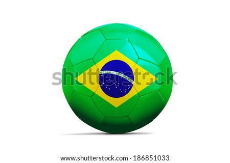Soccer balls with teams flags, Football Brazil 2014. Group A, Brazil - stock photo