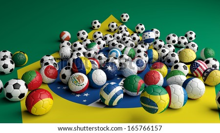 Soccer balls with various flags on Brazilian flag background - stock photo