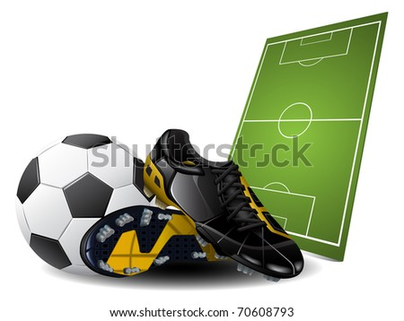 Soccer boots and ball - stock photo