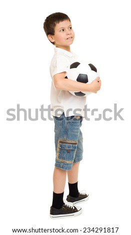soccer boy studio isolated on white - stock photo
