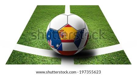 Soccer Championship 2014. Brazil. Group B. Spain, Netherlands, Chile,Australia. artwork - stock photo