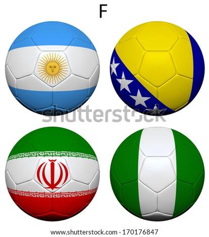 Soccer Championship 2014. Brazil. Group F. Argentina, Bosnia and Herzegovina, Iran, Nigeria. 3d soccer ball design. - stock photo