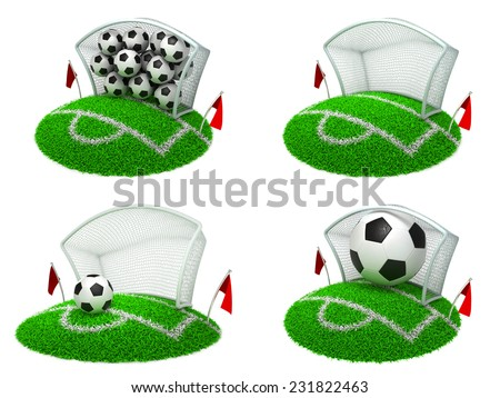 Soccer Concepts - Set of 3D Football Gate and Balls. - stock photo