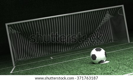 Soccer field and ball in penalty point - stock photo