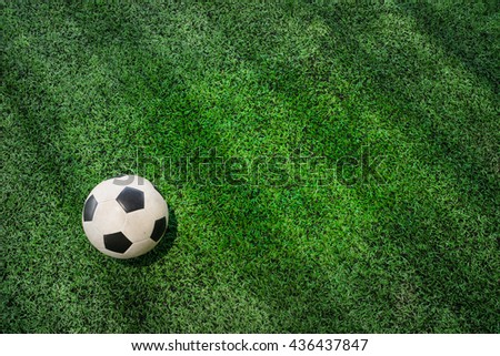 soccer field and ball top view background - stock photo