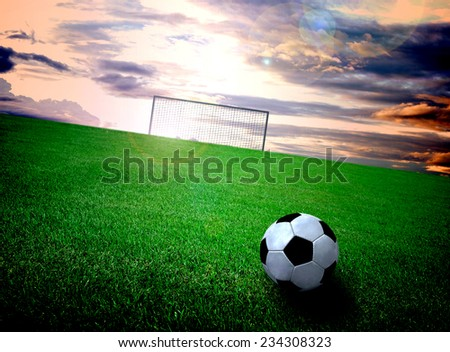 soccer field and sky - stock photo