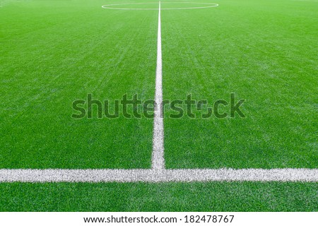 Soccer field detail with white lines - stock photo