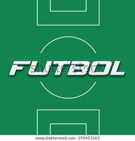 Soccer field in spanish word image. Concept of competition, card sign - stock photo