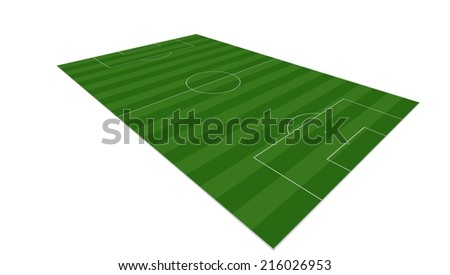 Soccer field isolated on white background - stock photo