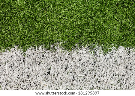 Soccer Field Line detail for Backgrounds or Texture. Macro shot. - stock photo