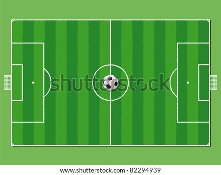 Soccer field / pitch or football field in aerial perspective with ball on the center point - stock photo