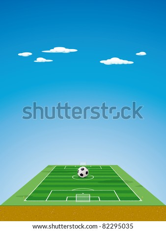 Soccer field / pitch or football field in 3D aerial perspective with ball on the center point, goals and corner flags - stock photo