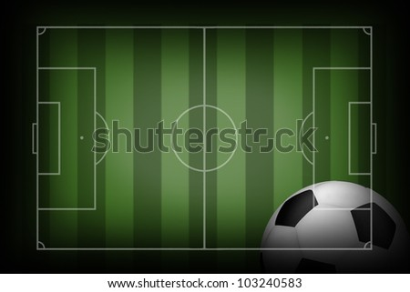 soccer field with Ball - stock photo