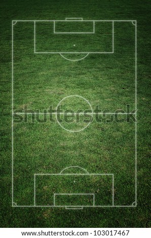 soccer field with real grass texture. - stock photo