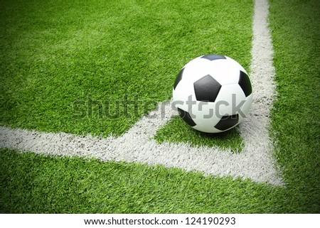 Soccer football field stadium grass line - stock photo