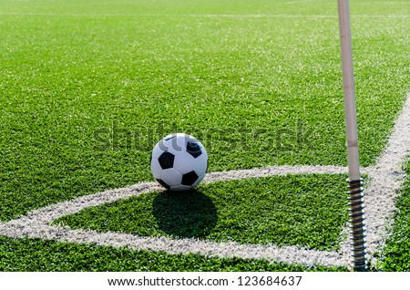 Soccer Football on Corner line for Corner kick. - stock photo