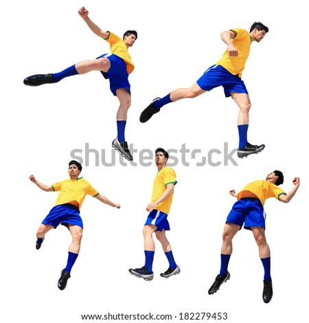 Soccer football player man striking the ball isolated on white background - stock photo