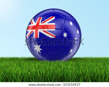 Soccer football with Australian flag on grass. Image with clipping path - stock photo