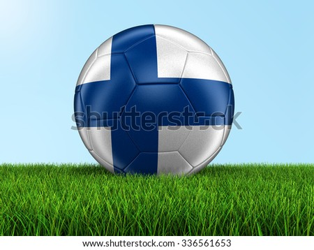 Soccer football with Finnish flag on grass. Image with clipping path - stock photo