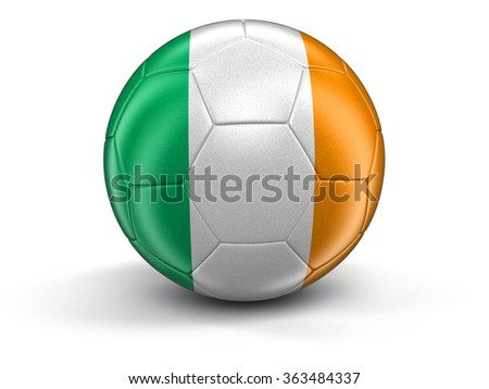 Soccer football with Irish flag. Image with clipping path - stock photo