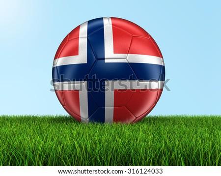Soccer football with Norwegian flag on grass - stock photo