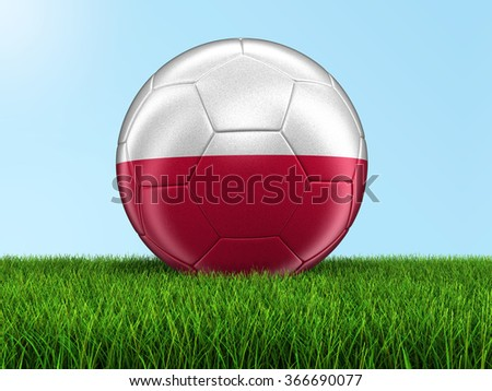 Soccer football with Polish flag. Image with clipping path - stock photo