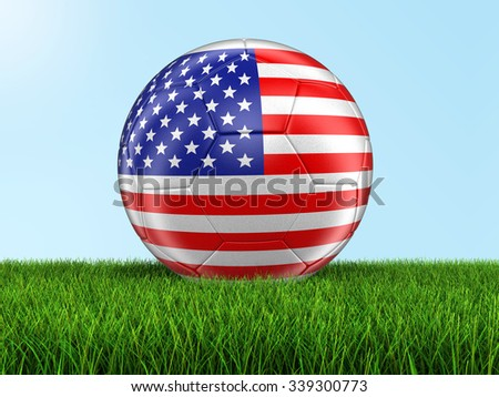 Soccer football with USA flag on grass. Image with clipping path - stock photo