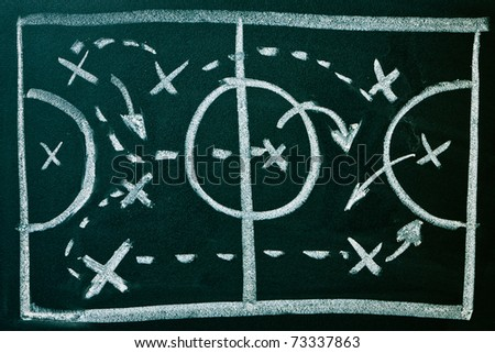 Soccer formation tactics on a blackboard - stock photo
