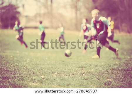 Soccer game, blurred image. Instagram effect. - stock photo
