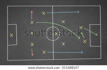 Soccer game strategy drawn with chalk on a blackboard. - stock photo