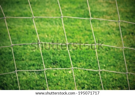 soccer goal and net - stock photo