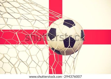 Soccer Goal. English flag with a soccer ball in a net vintage color - stock photo