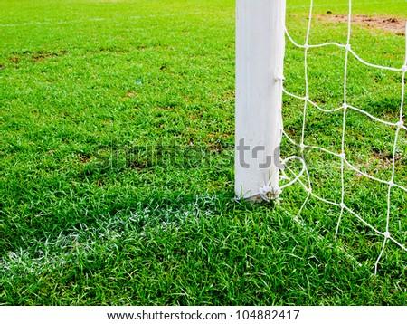 soccer goal football green grass field - stock photo