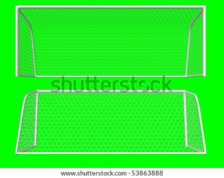 soccer goal front/back view isolated on green background - stock photo