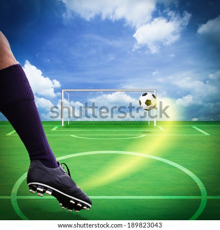 Soccer goal highlight , shooting shot and Goalkeeper catches the ball - stock photo