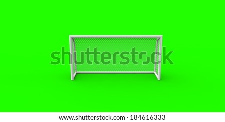 Soccer goal isolated on green intense background - stock photo