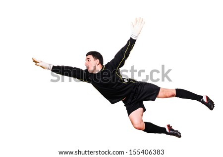 soccer goalkeeper is catching a ball, isolated on white background - stock photo