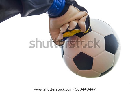 soccer goalkeeper save on a white background. - stock photo