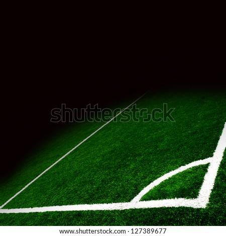 Soccer green field - stock photo