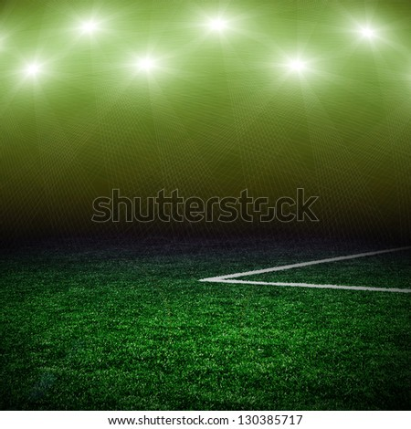 Soccer green field - stock photo