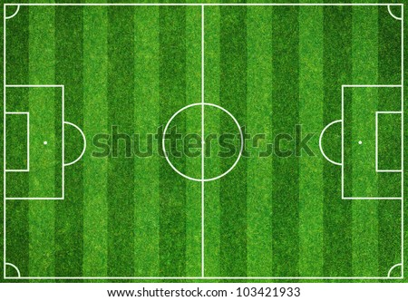 Soccer green field background - stock photo