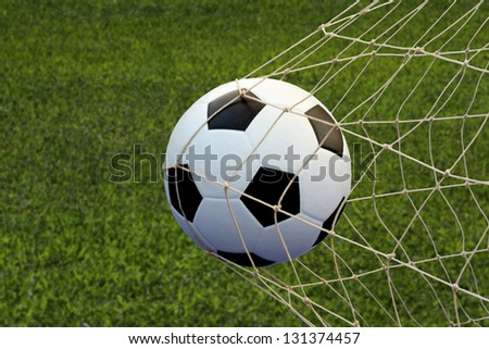 soccer in goal - stock photo
