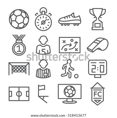 Soccer Line Icons - stock photo