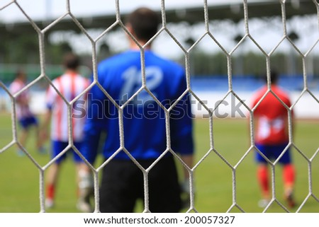 Soccer net. Abstract football background - stock photo