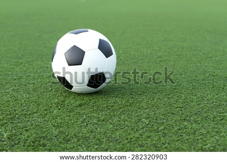 soccer on a green lawn. - stock photo