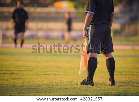 soccer or football assistant referee. - stock photo
